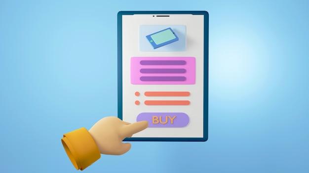 3d render de mão e móvel. negócios on-line e e-commerce no conceito de compras na web. transação de pagamento online segura com smartphone.