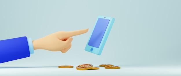 3d render de mão e móvel. negócios online para celular e comércio eletrônico.