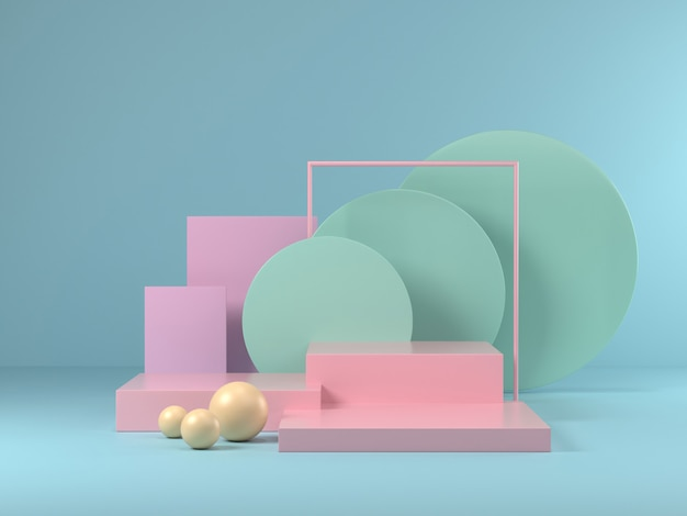 3d render de mock-se pódio abstrato pastel pódio