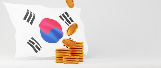 3d render de moedas de ouro e a bandeira da coreia. compras on-line e e-commerce no conceito de negócio da web. transação de pagamento online segura com smartphone.