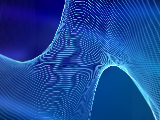 3d render de ondas sonoras abstratas. fundo de tecnologia digital