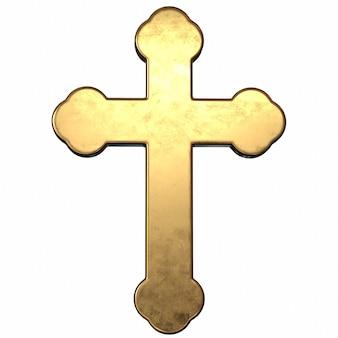 3d render de ouro cruzado em fundo branco
