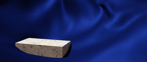3d render de pano azul e pódio de mármore. abstrato arte moda base. vitrine de plataforma de palco de cena, produto, apresentação, cosmético no pódio.