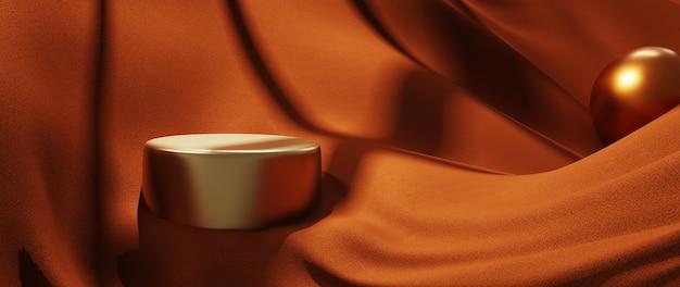 3d render de pano laranja e pódio de ouro. abstrato arte moda base.