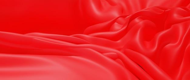 3d render de pano vermelho