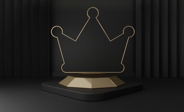 3d render de pedestal preto etapas isoladas, estágio de coroa dourada com moldura de ouro preto