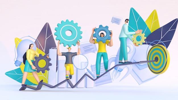 3d render de pessoas trabalhando juntas, gerenciamento de projetos e elementos de negócios.