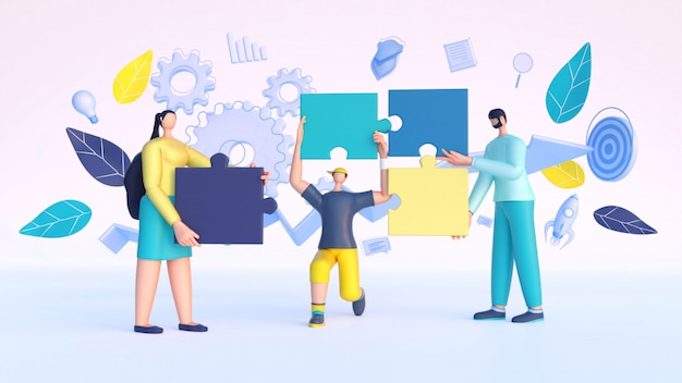 3d render de pessoas trabalhando juntas para concluir o projeto de conectar as peças do quebra-cabeça.