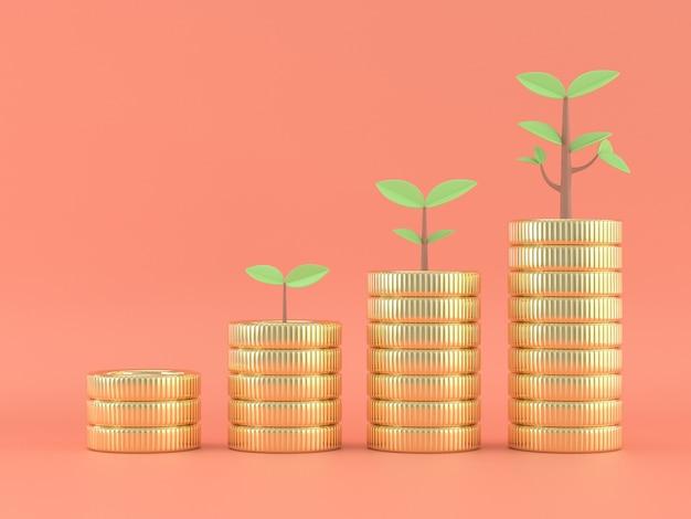 3d render de pilhas de moedas com plantas