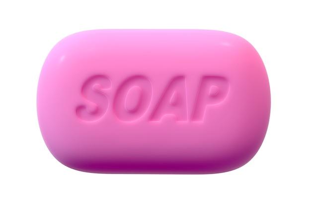 3d render de pink soap com texto isolado em fundo branco