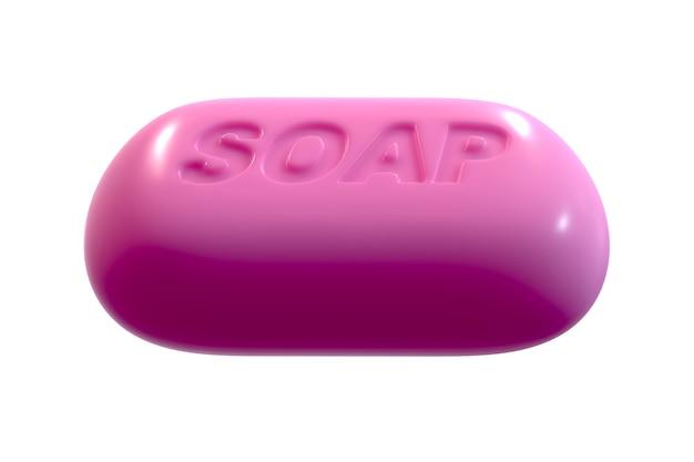 3d render de pink soap com texto isolado