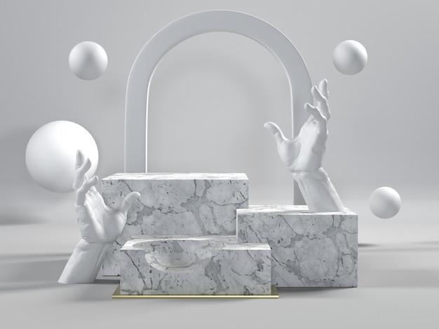 3d render de pódios de mármore brancos com as mãos