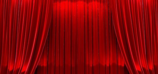 3d render de prêmios mostram fundo com cortinas vermelhas fechadas.