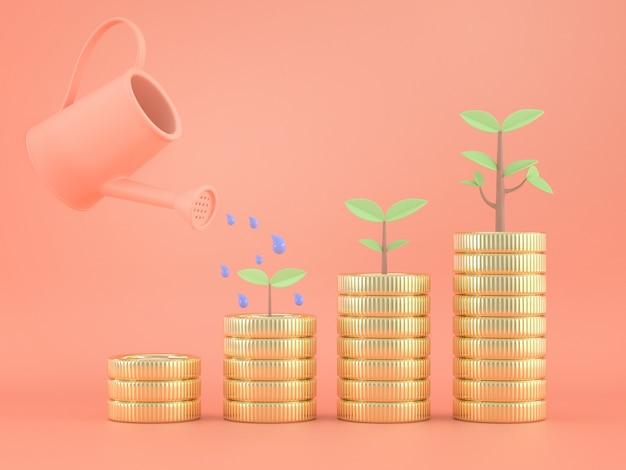 3d render de regador com moedas e plantas