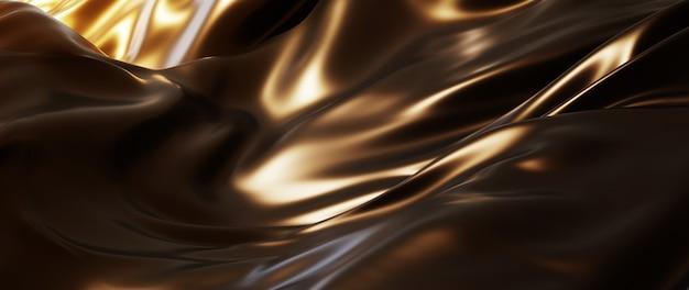 3d render de seda escura e dourada. folha holográfica iridescente. abstrato arte moda base.