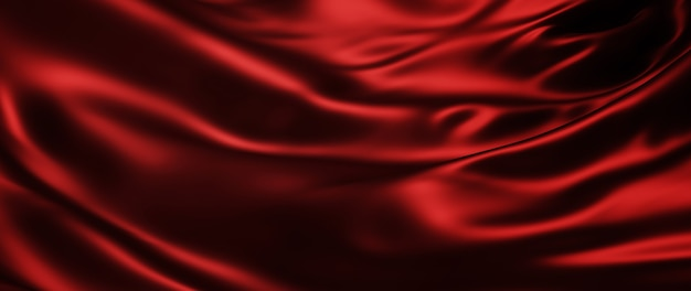 3d render de seda escura e vermelha. folha holográfica iridescente. abstrato arte moda base.