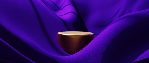 3d render de seda roxa e pódio de ouro. abstrato arte moda base.