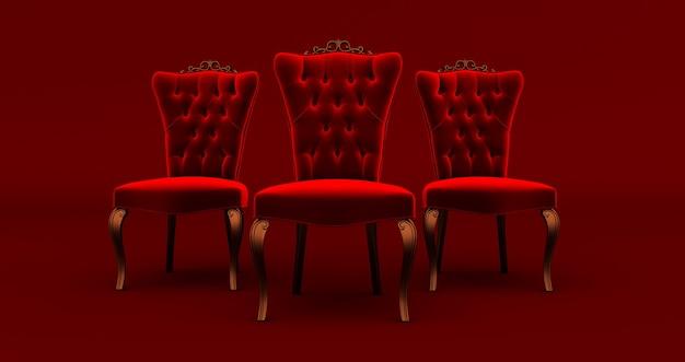 3d render de três (3) cadeiras rei vermelhas isoladas em fundo vermelho, conceito vip