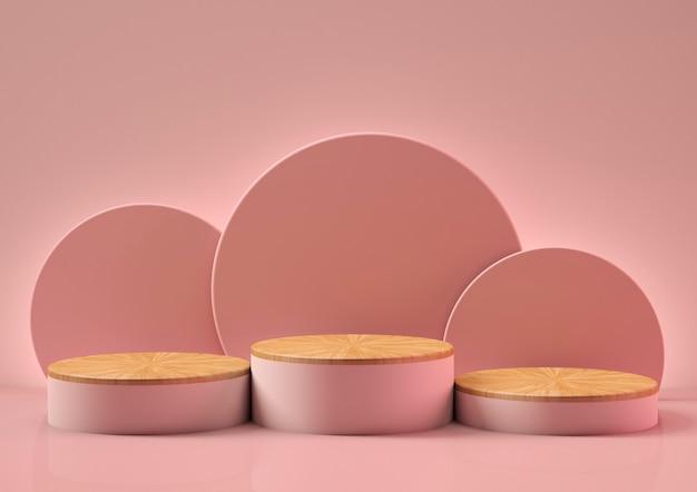 3d render de três pódios rosa com uma base de madeira no fundo rosa