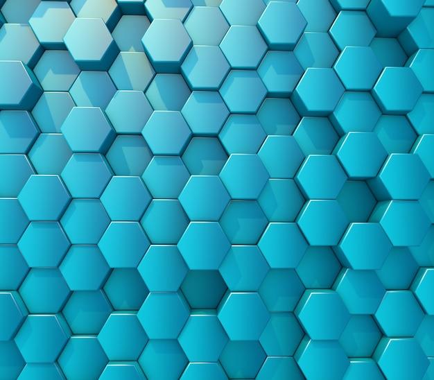 3d render de um abstrato com parede de hexágonos de extrusão