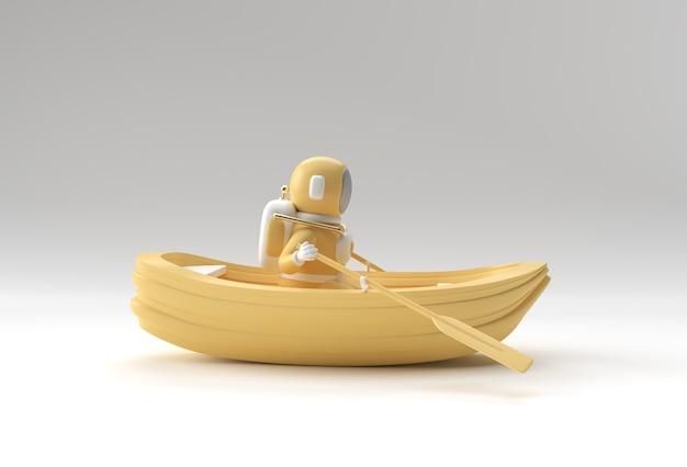 3d render de um astronauta divertido na ilustração 3d do barco.