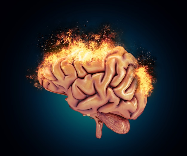 3d render de um cérebro com chamas