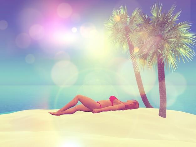 3d render de um feminino tomando sol em uma praia com efeito retro