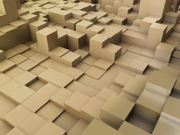 3d render de um fundo abstrato de blocos de extrusão