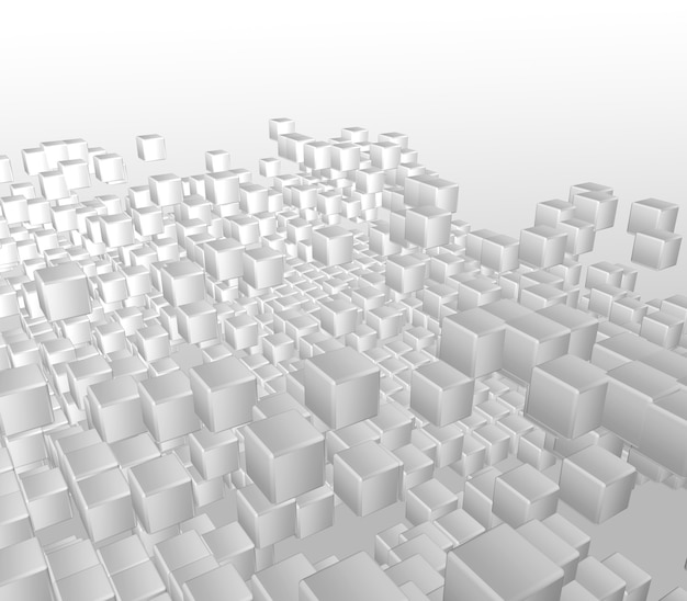3d render de um fundo abstrato de cubos brancos