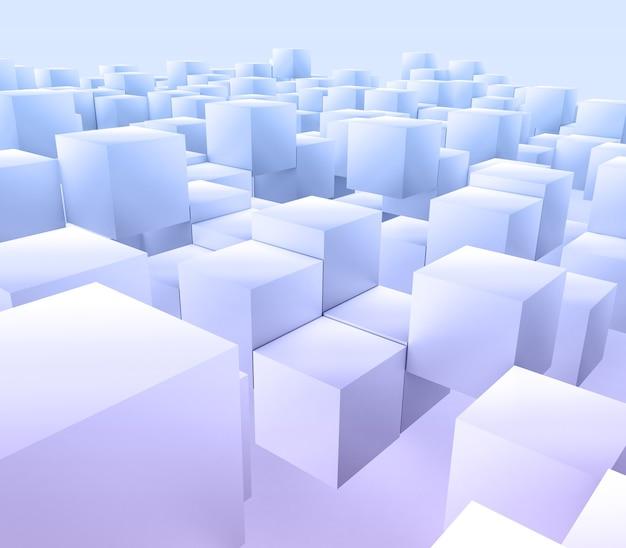 3d render de um fundo abstrato moderno com cubos flutuantes