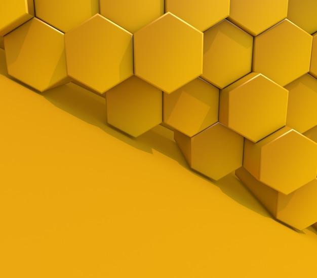3d render de um fundo abstrato moderno com extrusão de hexágonos Foto gratuita
