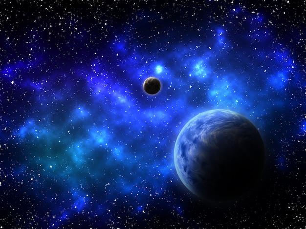 3d render de um fundo de espaço com planetas abstratos e nebulosa