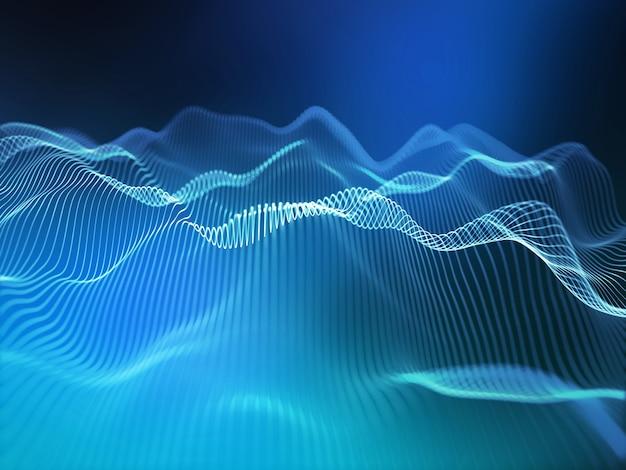 3d render de um fundo de tecnologia moderna com linhas fluidas abstratas