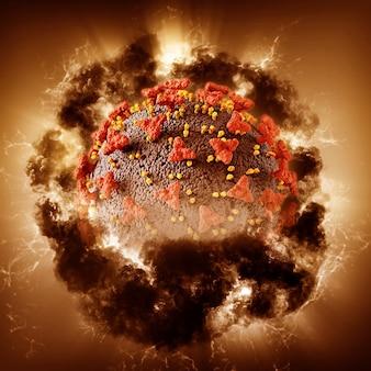 3d render de um fundo médico abstrato com célula de vírus covid 19 com efeito de tempestade