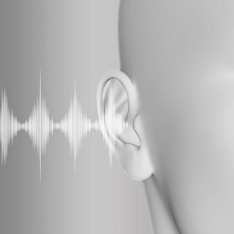 3d render de um médico com close-up de orelha e ondas sonoras