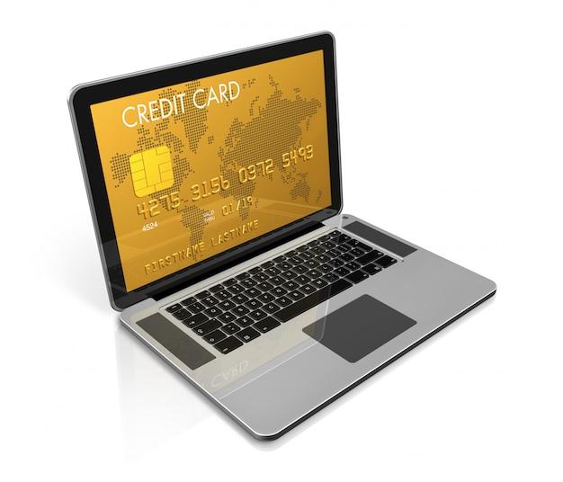 3d, render, de, um, ouro, cartão crédito, ligado, um, laptop, screen-, isolado, branco, com, caminho cortante
