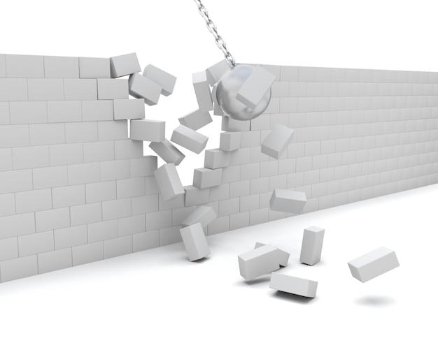 3d render de um wrecking bola demolindo um parede