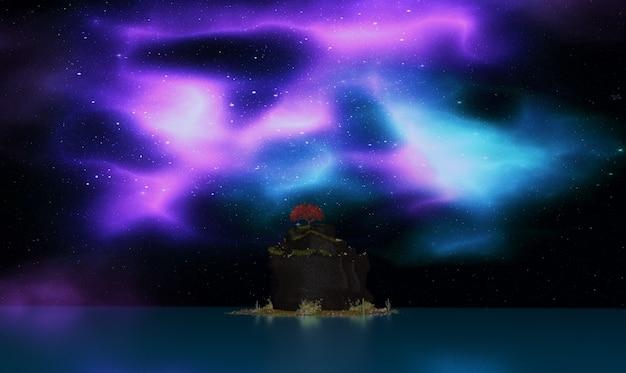3d render de uma árvore na ilha contra o céu das auroras do norte