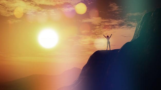3d render de uma fêmea com os braços levantados em um penhasco contra um céu do por do sol