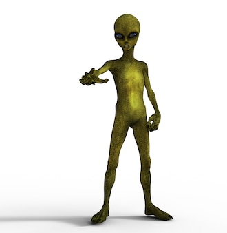 3d render de uma figura alienígena com a mão apontando