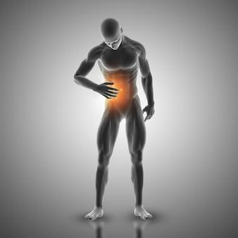 3d render de uma figura masculina segurando estômago na dor