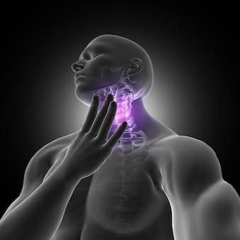 3d render de uma figura masculina segurando garganta com dor