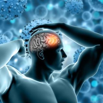 3d render de uma formação médica com a figura masculina e o cérebro em destaque