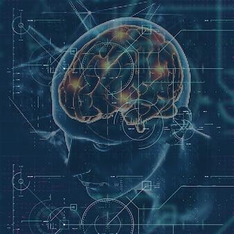 3d render de uma formação médica com figura masculina com cérebro em destaque e sobreposição de techno
