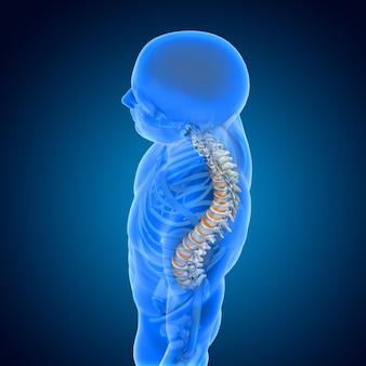 3d render de uma formação médica com figura masculina com coluna vertebral e discos destacados