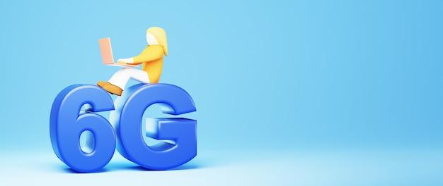 3d render de uma garota de negócios e 6g. compras on-line e e-commerce no conceito de negócio da web. transação de pagamento online segura com smartphone.