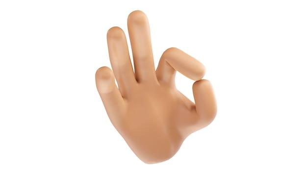 3d render de uma mão mostrando sinal de ok. ilustração