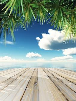 3D render de uma mesa de madeira olhando para o oceano tropical