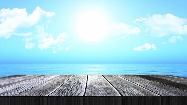 3d render de uma mesa de madeira vintage com vista para uma paisagem do oceano