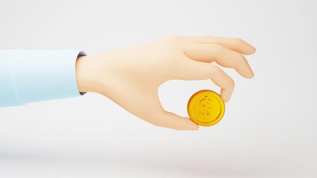 3d render de uma moeda de ouro e uma mão. compras on-line e e-commerce no conceito de negócio da web. transação de pagamento online segura com smartphone.